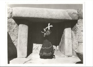 Inesita posed in front of a Dolmen in Malta at the Hypoguem 1961