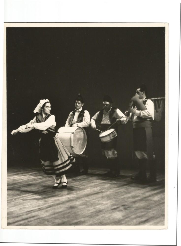 Inesita dancing Muinera with Bagpipe and Drums New Yori May 1962