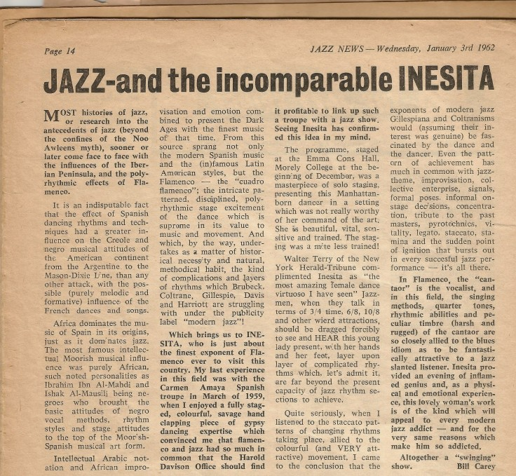 Jazz and the incomparable INESITA January 1963 London