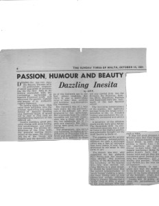 Review of Inesita's Performances in Valletta, Malta. Malta Times. 1961 (850 x 1100)